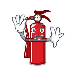 Waving fire extinguisher character cartoon vector