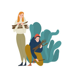 young man and woman collecting twigs or brushwood vector image