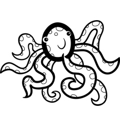 cartoon octopus for coloring book vector image vector image
