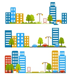city street flat design housing neighborhood vector image