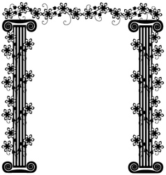 Frame with columns and flowers vector