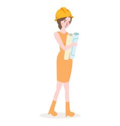 girl architect wearing yellow helmet female work vector image vector image
