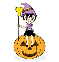 girl dressed as witch vector image vector image