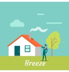 Breeze gentle wind blowing on young man vector
