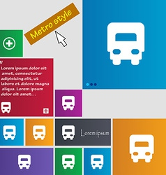 Delivery truck icon sign Metro style buttons vector image