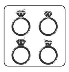 Diamond engagement ring icons set 5 vector