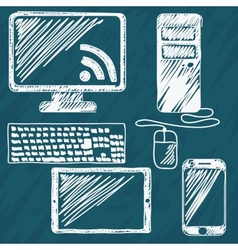 Digital devices hand drawn vector image