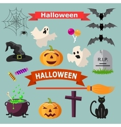 Set of Halloween ribbons and characters vector image vector image