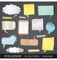 set of textured paper speech bubbles vector image vector image
