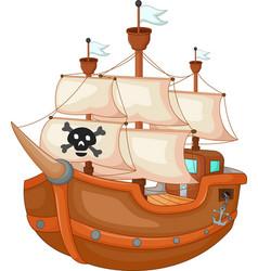 antique pirate yacht cartoon vector image