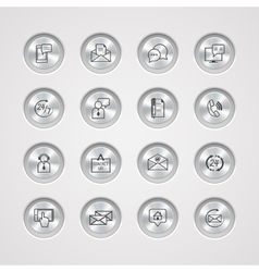 Contact Us Service Icons Set vector image vector image