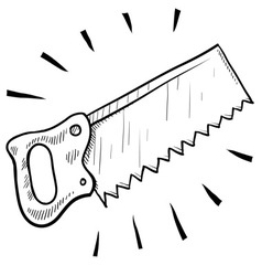 doodle saw handsaw vector image vector image