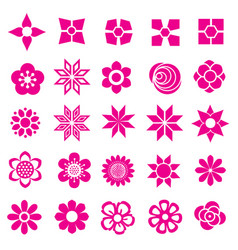flower set icon-pink vector image