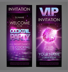 set of disco background banners cocktail party vector image