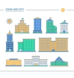 Set of line flat design administrative buildings vector image vector image