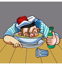 cartoon drunken sailor nuzzled plate vector image