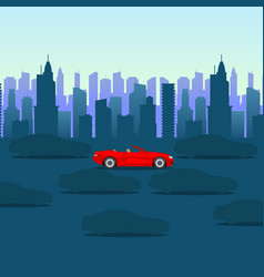 cool cartoon-style red car on dark city background vector image
