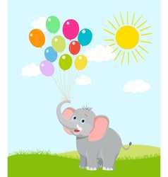 elephant with balloons vector image vector image