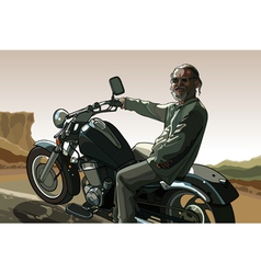 gray haired man with a beard on a motorcycle vector image