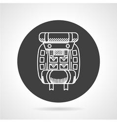 Hiking rucksack black round icon vector image vector image