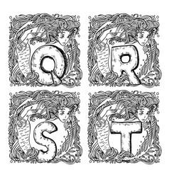 Retro pirate alphabet - q r s t vector