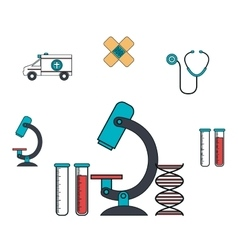 set microscope services medical isolated vector image vector image