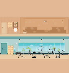 set of fitness gym interior with equipment and vector image