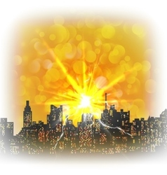 urban landscape with a bright flash and glare vector image