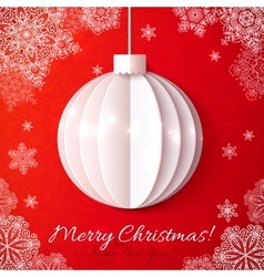 Wihite origami paper Christmas ball vector image