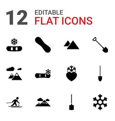 12 snow icons vector