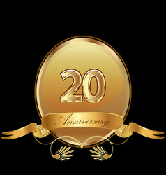 20th golden anniversary birthday seal icon vector image