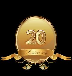 20th golden anniversary birthday seal icon vector