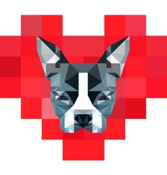 8-Bit Pixelated Heart with Low-Poly Boston Terrier vector