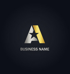 a initial star gold logo vector image