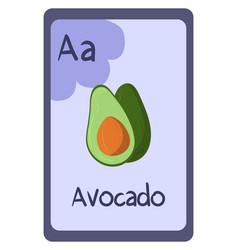 Abc flashcard letter a for avocado vector