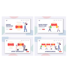 Atherosclerosis landing page template set tiny vector