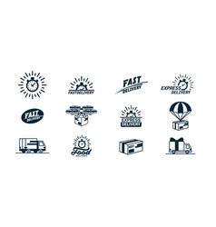 big delivery related monochrome icons set logos vector image