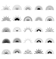 big set of retro sun burst shapes 25 half vintage vector image