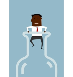 Black american businessman inside a bottle vector image