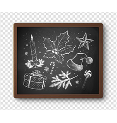 black and white chalked christmas set vector image