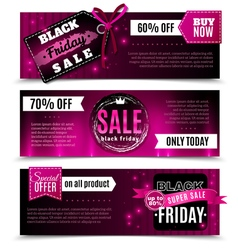 Black friday sale horizontal banners vector