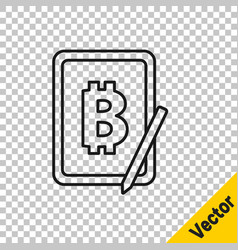 black line mining bitcoin from graphic tablet icon vector image