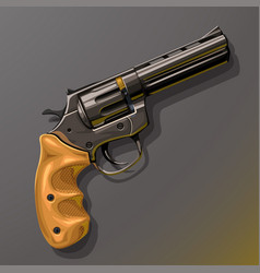 black revolver with wooden handle vector image