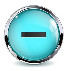 Blue 3d button minus sign vector