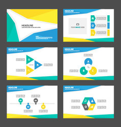 Blue green yellow presentation templates layout vector image