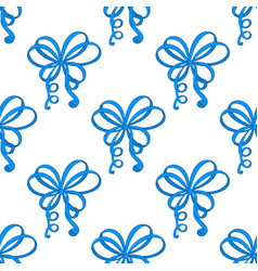 blue ribbon bows as seamless pattern vector image