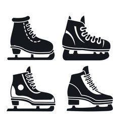Boot ice skates icon set simple style vector