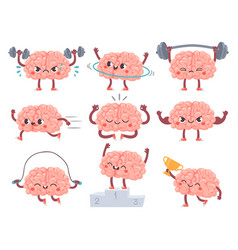 brain and sport comic brains sports activities vector image