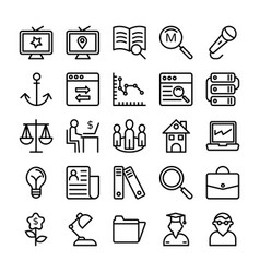 Business and office line icons 15 vector