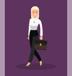 business woman goes to office flat design vector image
